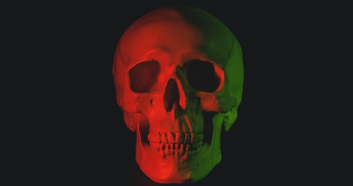 skull head bust with LED light